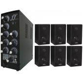 Kit 6 Caixa Som Ambiente E 1 Amplificador E Setorizador