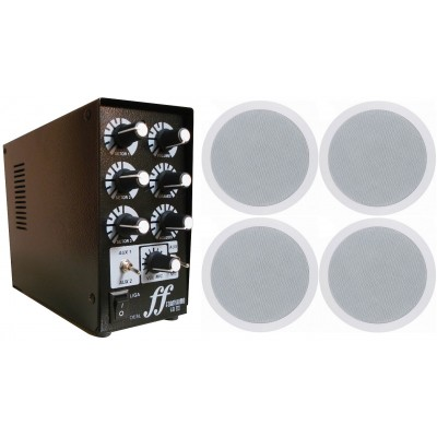 Kit 4 arandela de som ambiente + 1 amplificador e setorizador  3 ambientes
