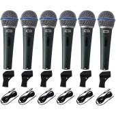 Kit 6 Microfones Profissionais + Cabos MXT BTM58