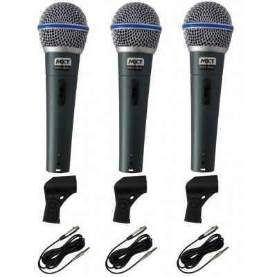 Kit 3 Microfones Profissionais Mxt Bt-58a Cabos Cachimbo