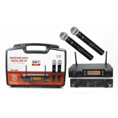 Microfone Duplo Sem Fio Uhf Profissional Mxt 628m 100 Canal
