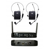Microfone Headset Lapela Duplo Sem Fio Uhf526bp Pll100 Canal