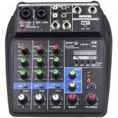 Mesa De Som Bluetooth Com 4 Canais Efeito E Phantom Power